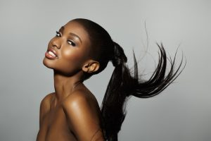 Model With Floating Ponytail